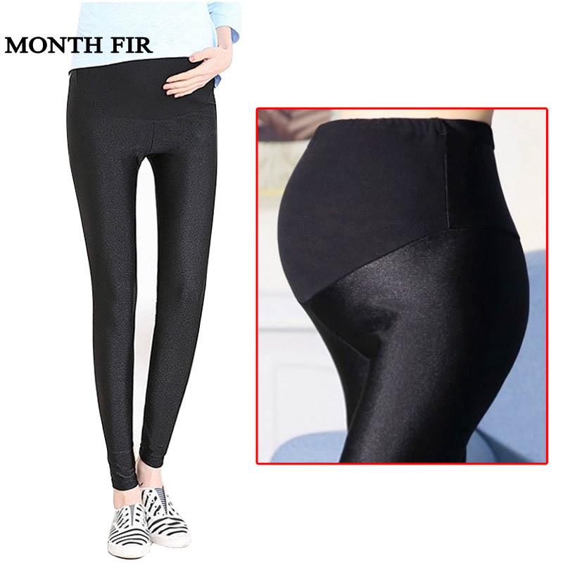 Belly Skinny Maternity Legging Elastic Push Up Slim Legging High Waist Maternity Shine Pants For Pregnant Women Spring Summer