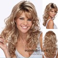 Heat Resistant Synthetic hair wavy Long blonde Wigs with side bangs for Women natural hairline eurasian curly hair girls style