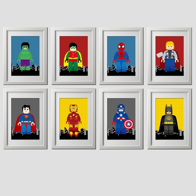 Nursery Superhero Wall Art Canvas Print Spiderman Poster , Cartoon Superhero  Batman Canvas Painting Kids Boy