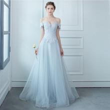 2017 Best Sale Off the Shoulder A Line Long Prom font b Dresses b font Elegant