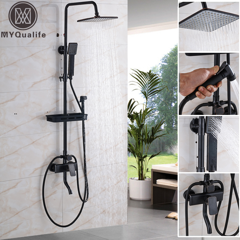 Black Wall Mounted 8 Rain Shower Faucet Mixer Set with Bathroom Commodity Shelf /Swivel Tub Spout /Hand Shower / Bidet Sprayer 25cm two hooks household ornament shelf wall commodity shelf wall mounted hook wall bracket