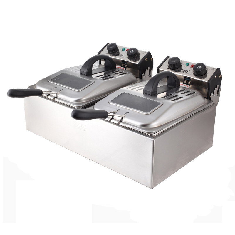 Large Capacity Electric Deep Fryers Timing Fry Pan Double Cylinder Fried Machine Stainless Steel 5600W SZ-6BX2