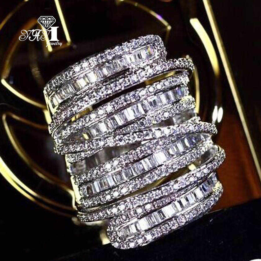 YaYI Perhiasan Mode Princess Cut 6.4 CT Warna Putih Zircon Perak Engagement Rings wedding Rings Partai Rings