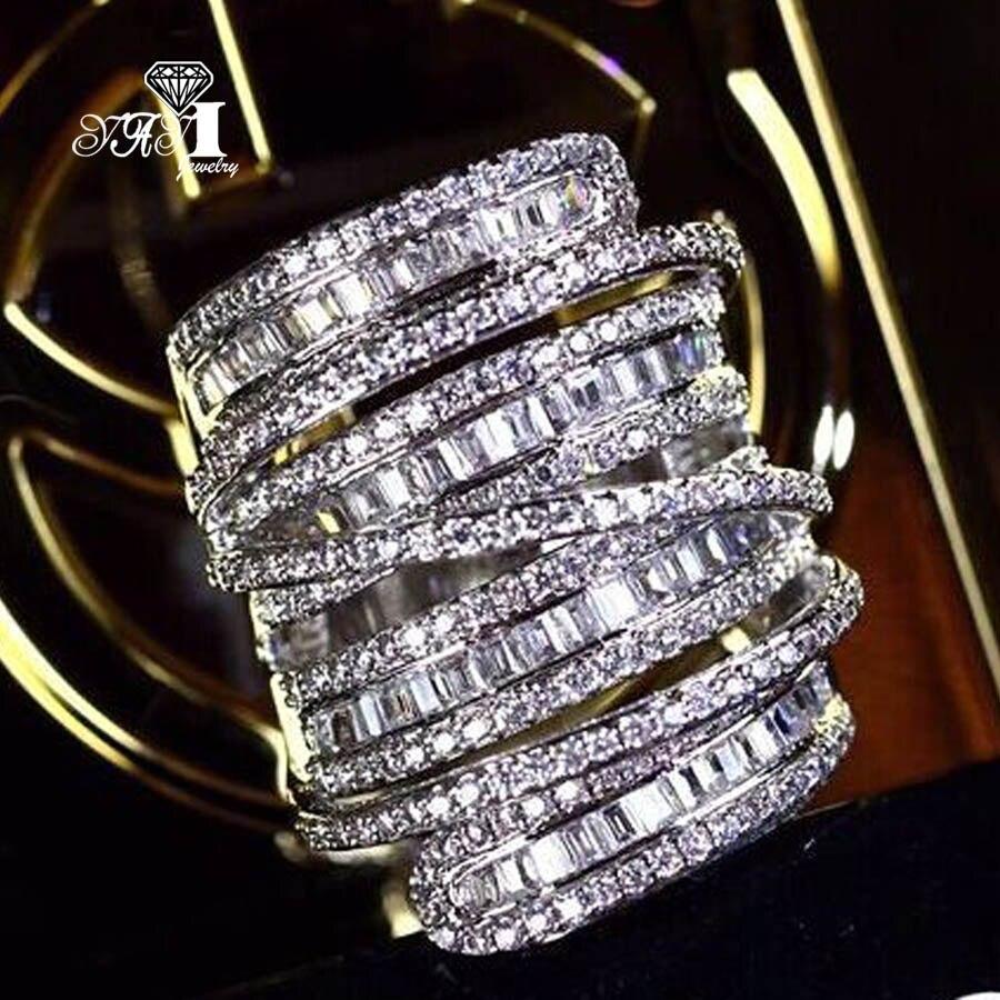 YaYI ювелирные изделия Мода Принцесса Cut 6,4 CT белый цирконий серебристый цвет обручальные кольца вечерние кольца