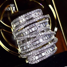 YaYI joyería de moda princesa corte 6,4 CT circón blanco Color plata anillos de compromiso anillos de boda anillos de fiesta