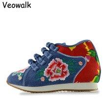 Veowalk Новый Дизайн Весна женская Обувь Китайская Случайные Удобные Цветок Вышитые Джинсовые Обувь Женская Обувь Для Ходьбы