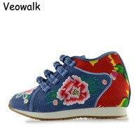 Veowalk Nowy Projekt Buty damskie Wiosennych Chiński Dorywczo Wygodne Kwiat Haftowane Denim Buty Damskie Buty Do Chodzenia