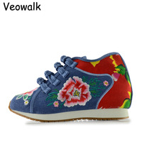Veowalk New Design Spring Women S Shoes Chinese Casual Comfortable Flower Embroidered Denim Shoes Ladies Walking