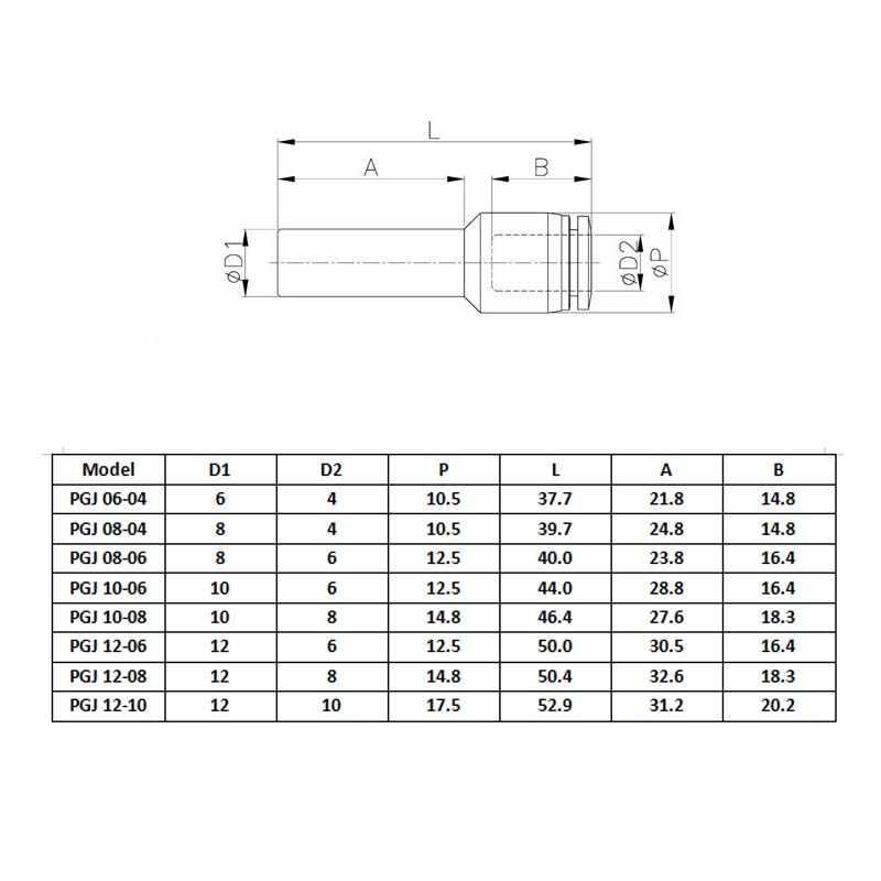 1 pc 공압 커넥터 피팅 플러그 감속기 pgj 6/8/10/12mm 튜브 4/6/8/10mm 튜브