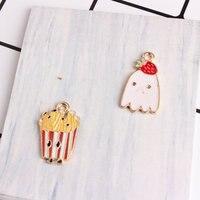 Hohe Qualität 60 Stücke Nette Erdbeeren Pudding Französisch Frites Emaille Legierung Anhänger Charme Farbe Gold Metall Öltropfen Schwimm Charme