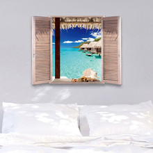 Maldives Ocean Beach Wave Wall Art Sticker Mural Decal Decor Seascape Woodiness Window Casual