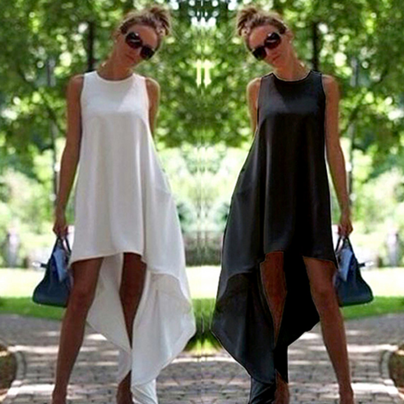 adbea26cba2a4 US $7.31 12% OFF|High Quality 2018 Fashion Designer Summer Party Dress  Women's Sleeveless Solid Color Round Neck A line Femme Casual Dress-in  Dresses ...