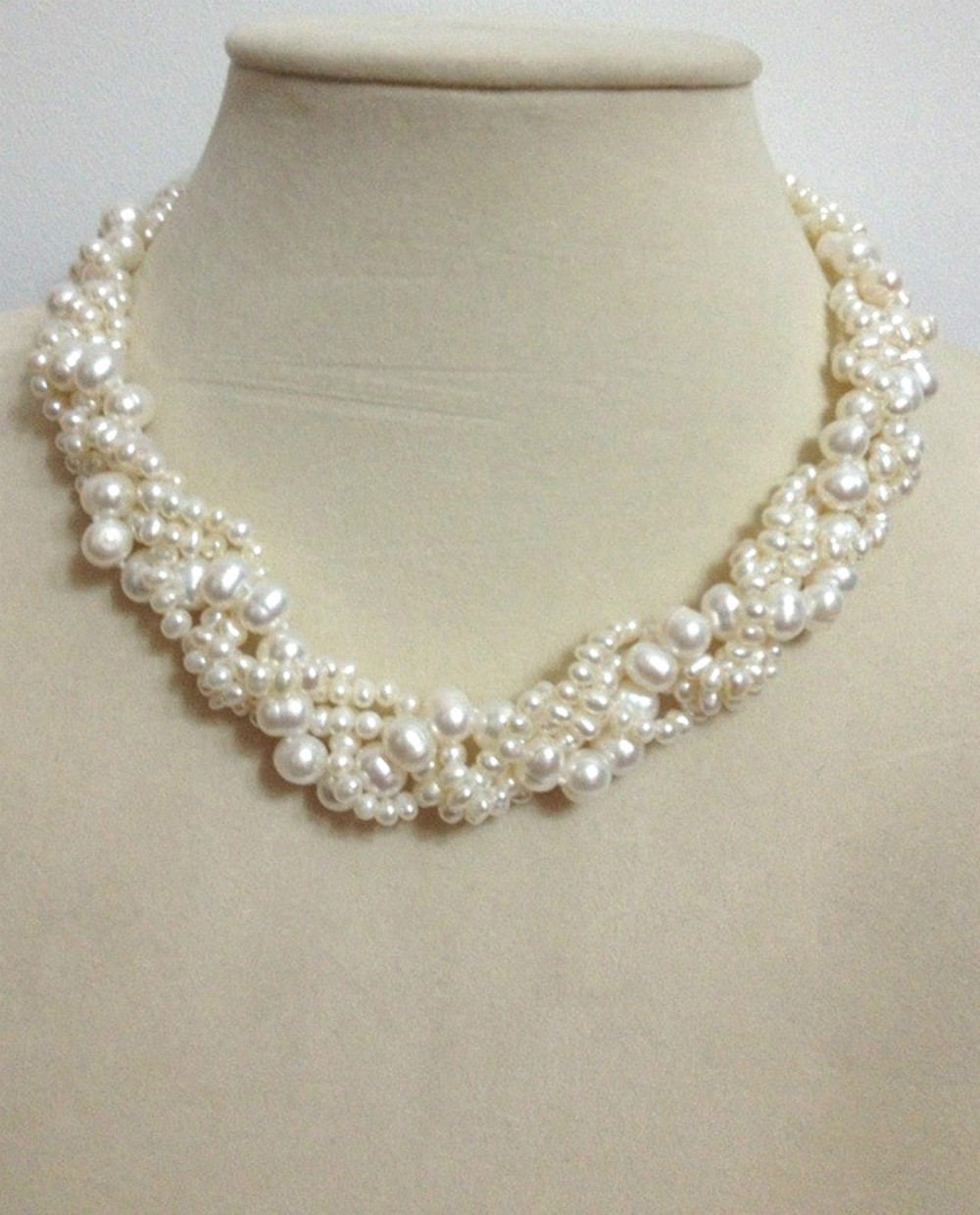 Fresh Water Pearl Hemp Flower Fried Dough Twist Necklace Natural