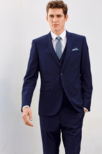 men suit groom tuxedo navy blue custom made suits prom dress 3 piece suits for the best man