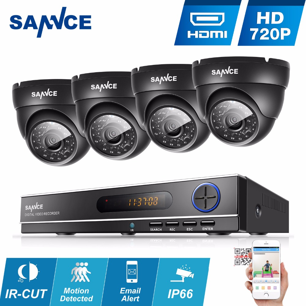 SANNCE 8CH CCTV System 720P DVR 4PCS 1.0MP IR Weatherproof Outdoor Video Surveillance Home Security Camera System 8CH DVR Kit zosi 1080p 8ch tvi dvr with 8x 1080p hd outdoor home security video surveillance camera system 2tb hard drive white