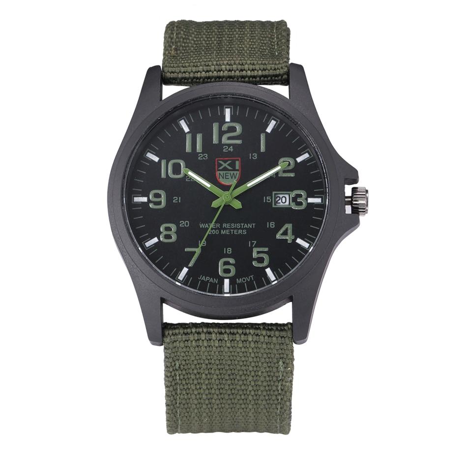 2018 New Arrival Famosa Marca XINEW Quartz Relógio Dos Homens Do Exército Verde Nylon Strap Casual Relógios de Pulso Relogio masculino Marca Original