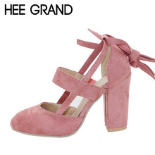HEE GRAND 2018 New Women's Shoes With High Heel Lace-up Women Sandals Large Size Pumps Mujer Causal Sandals WXG529(China)