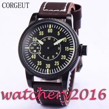 Simple Corgeut 45mm Black dial PVD case luminous hands sapphire glass 6497 hand winding movement Men's Mechanical Wristwatches