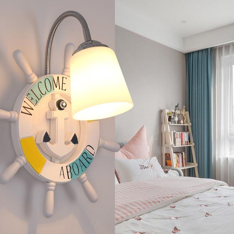 Современный мультфильм смолы корабль штурвала настенный светильник мальчик детская комната Творческий стекла огни девушка спальня ночники Арт Декор светодиодные лампы - 5