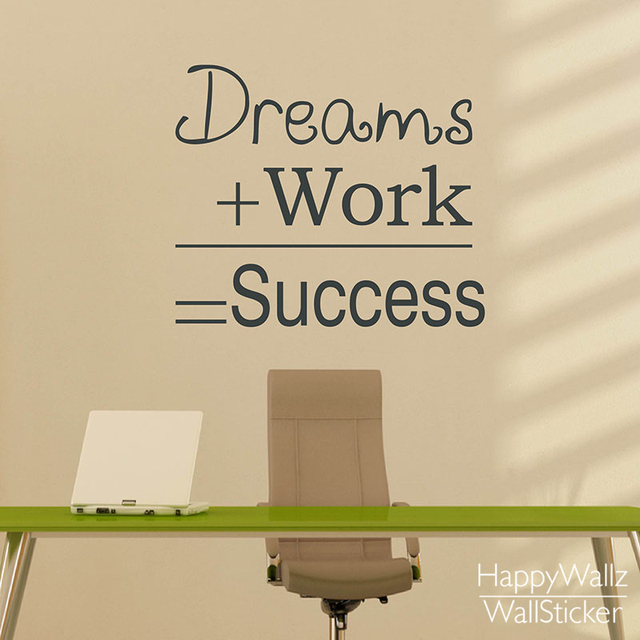 Dreams Work Success Motivational Quote Wall Sticker Dream Work Success DIY  Decorative Inspirational Quote Office Wall