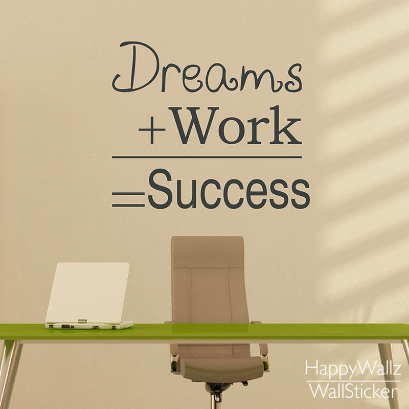 Dreams Work Success Motivational Quote Wall Sticker Dream Work Success DIY  Decorative Inspirational Quote Office Wall Decal Q126