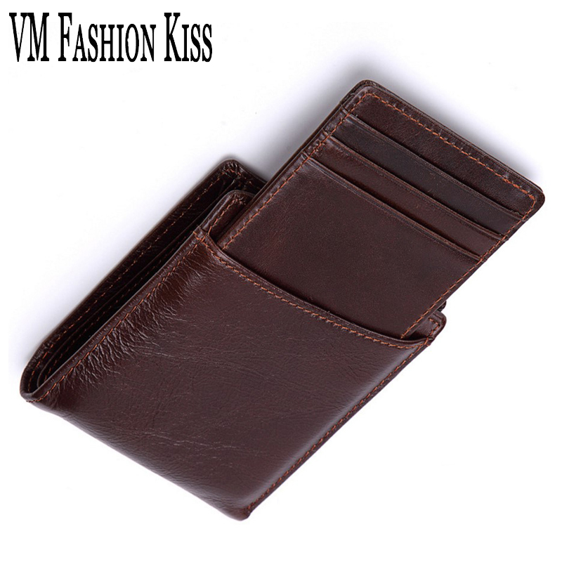 VM FASHION KISS Genuine Leather Men's Short Business Wallet Oil Wax Leather Purse Male Wallets Coin Purse Card Holder Photo men wallet male cowhide genuine leather purse money clutch card holder coin short crazy horse photo fashion 2017 male wallets