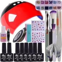 Soak Off Gel Nail Polish Set Top and Base Coat 24W LED Lamp Nail File Remover Wrap Starter Nail Art Tool Kit