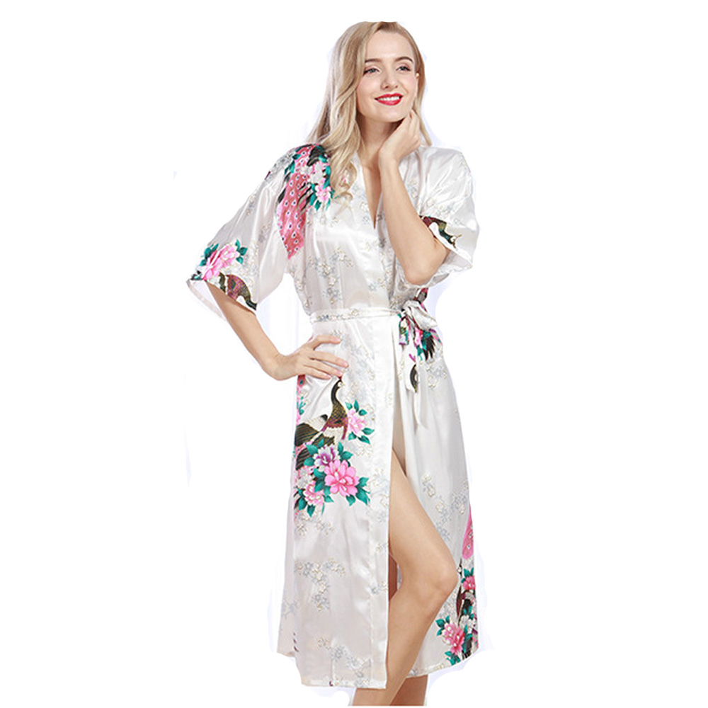 Dressing Gowns And Robes: Satin Robe Dressing Gowns For Women Bathrobe Silk Robe