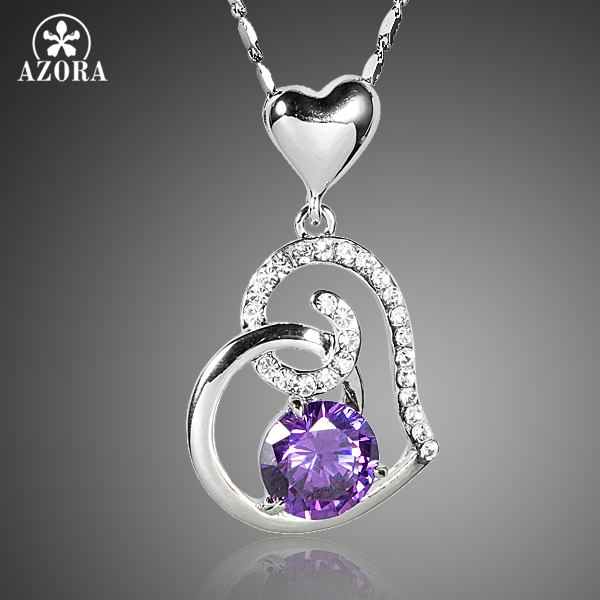 AZORA Purple Stellux Austrian Crystal Heart Pendant Necklace for Valentine's Day Gift of Love TN0182 yoursfs love you forever white gold plated heart in circle pendant necklace with austrian crystal open heart silver necklace wo