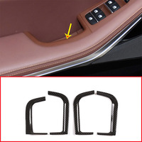4pcs Carbon Fiber Style For BMW X5 G05 2019 Year ABS Chrome Car Door Storage Box Decorative Frame Trim Accessories