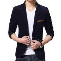 One Button Fitness Corduroy Jackets Men Long Sleeve Office Work Slim Brand Blazers Mens Fashion Plus