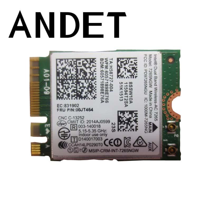 Double bande Sans Fil-AC 7265 7265NGW 2x2 WiFi Carte Pour Lenovo ThinkPad X250 L450 T450 T450S T550 W550S Yoga 12 15 00JT464 00JT502