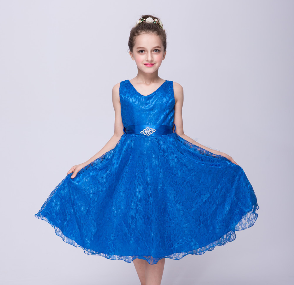 The girl lace princess dress for 3 4 5 6 7 8 9 10 11 12 years European children high grade