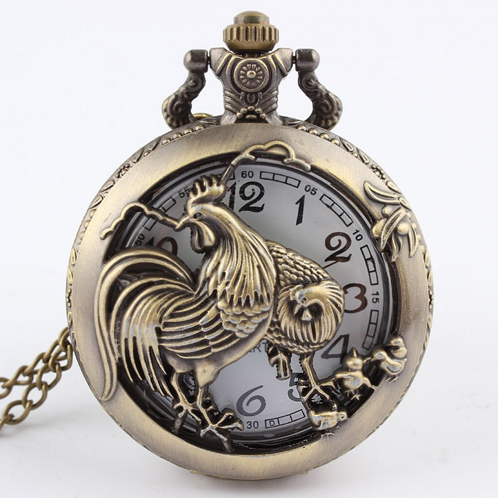 Hot Chinese Zodiac 12 Bronze Rooster Hen Hollow Quartz Zodiac Of Chicken Pocket Watch Necklace Pendant Carving Brown  GIfts P246