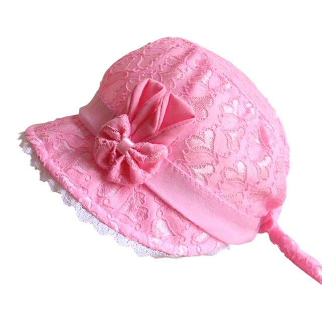 3b3d110eb93 Summer Cute Princess Baby Hat With Bow Solid Color Lace Hollow Baby Girl Cap  Toddler Kids Beach Bucket Hats Y12