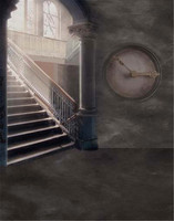Real Photographic Backdrop 5x7 Ancient Castle Stairs Clock For Photo Studio Thin Vinyl Cloth Camera Wedding Background Backdrops