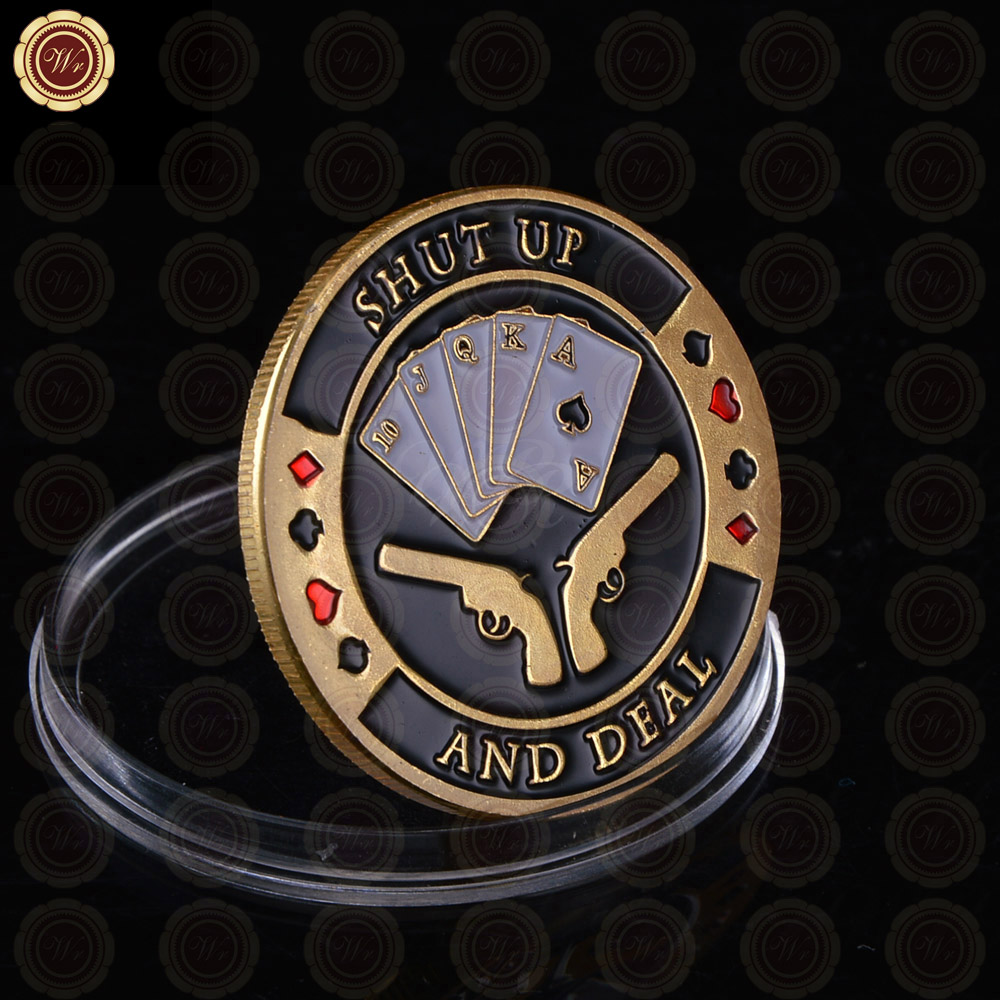 Casino Gambling Cheap Custom Token Coins Shut Up And Deal Souvenir Coins Plated Pure Gold Bet Win Gifts With Guns In Front