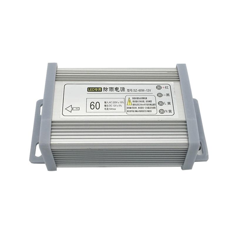 цена на New 5A 60W 12V rainproof power Driver Adapter Voltage Transformer for Led Strip Light Display 220V