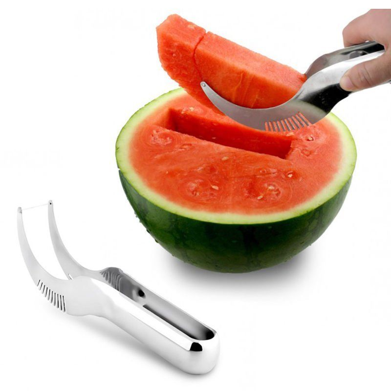 1 STKS partij supply Rvs Cut Fruit Watermeloen Cutter Snelle Slicer Smart Keuken Snijgereedschap Scoop Corer Server