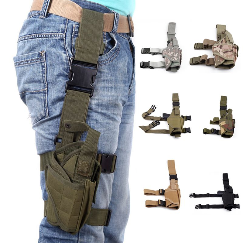 Adjustable Pistol Gun Drop Thigh Holster Pouch Hunting Military Nylon Holster Hunting Accessories For Glock 17 19 Beretta M9 swiss tech blak pocket knife st45039