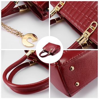 High Quality Soft Fabric Genuine Leather Strong Top Handle Casual Tote Fashion Handbag
