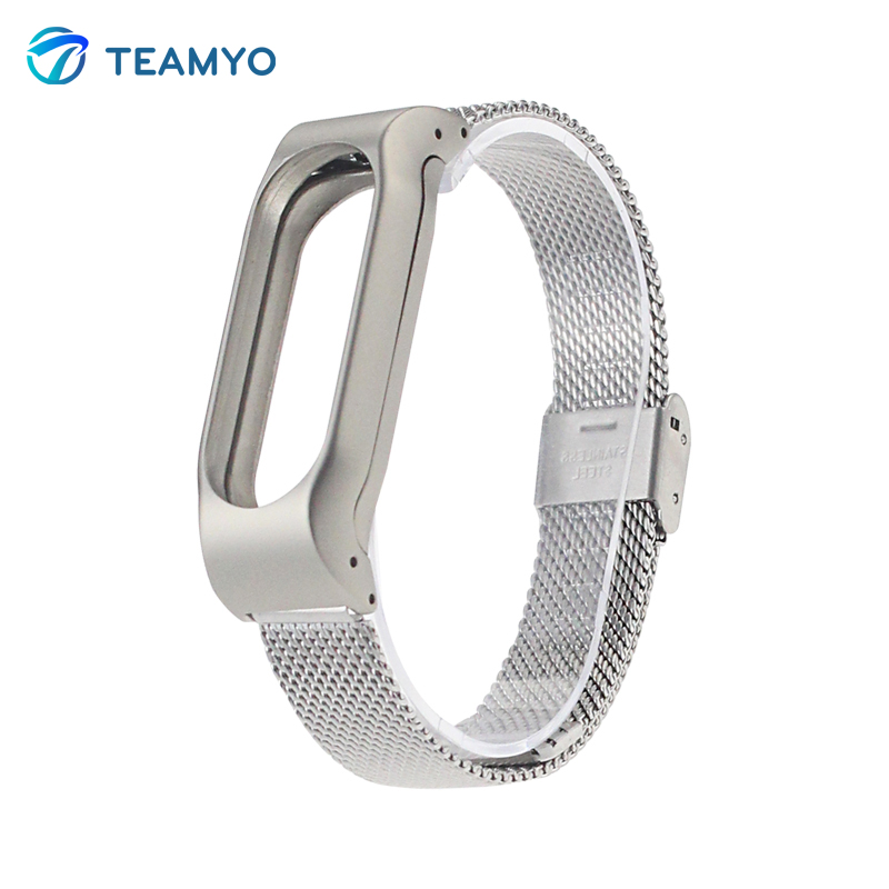 Galleria fotografica Metal Stainless Steel Strap For Xiaomi Mi Band 2 MIBand 2 Metal Wrist Bracelet Accessories Mi Band 2 Miband Bracelet Pulseira