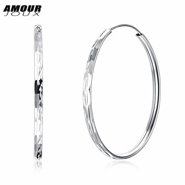 Amourjoux 925 Sterling Silver Classic Big Hoop Earrings For Women