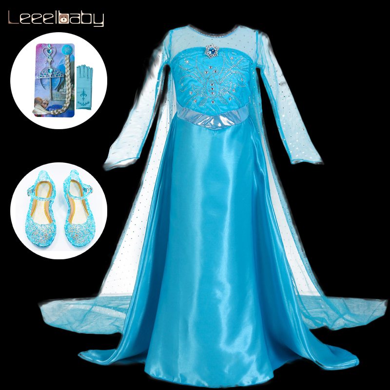 YoYoBaby Store Elsa dress costume Princess Fantasy new year Cosplay Costume Princess Aurora Halloween For Kids christmas costum