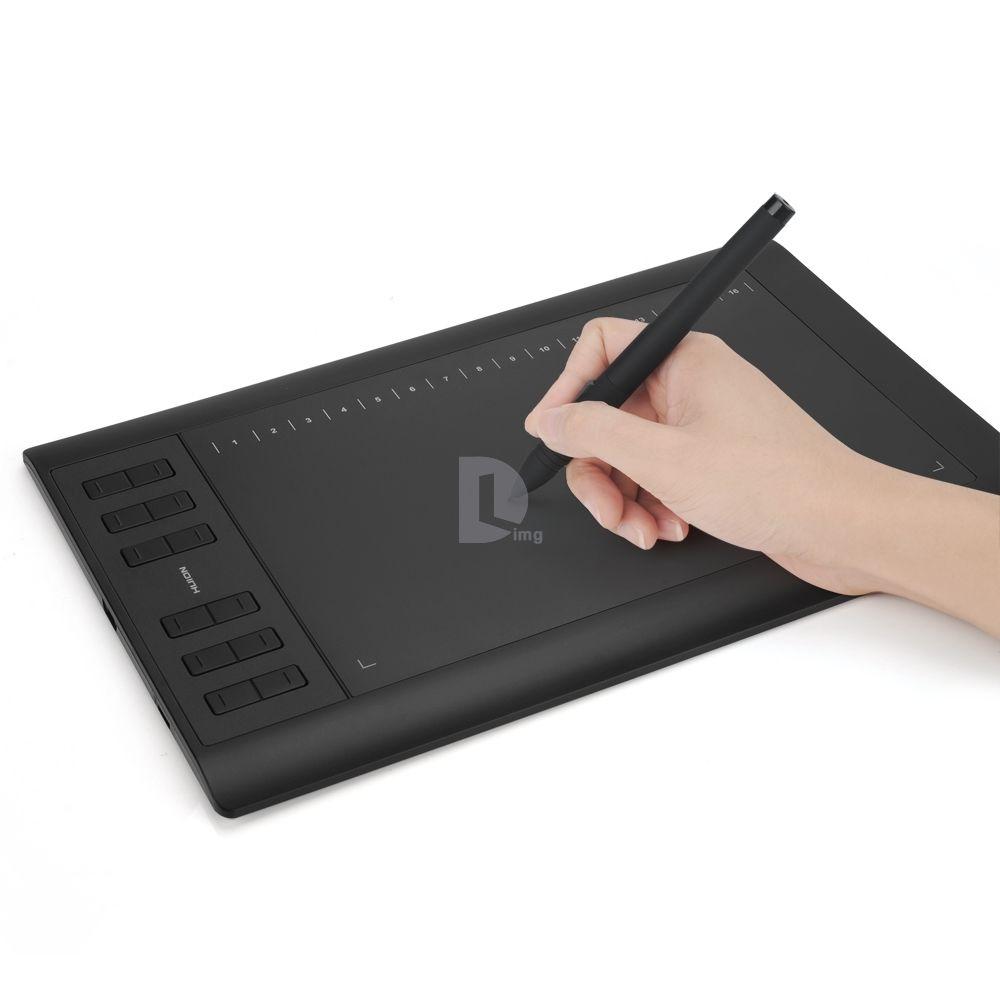 HUION 1060 Pro+ USB Graphic Tablet 10 x 6.25 5080 LPI 233 RPS 2048 Levels huion h580 usb interactive graphic tablet w function keys black yellow