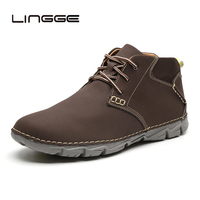 LINGGE Men's Boots Leather Men Casual Handmade Ankle Lace Up Booties Plus Size Men Shoes