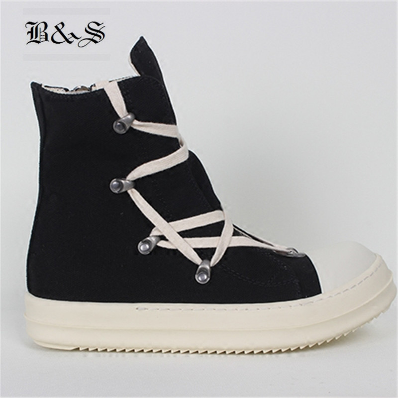 Black& Street 2018 SS Rivets Geometry Lace Up Causal Canvas Boots Classic High Top Canvas Flat Shoes