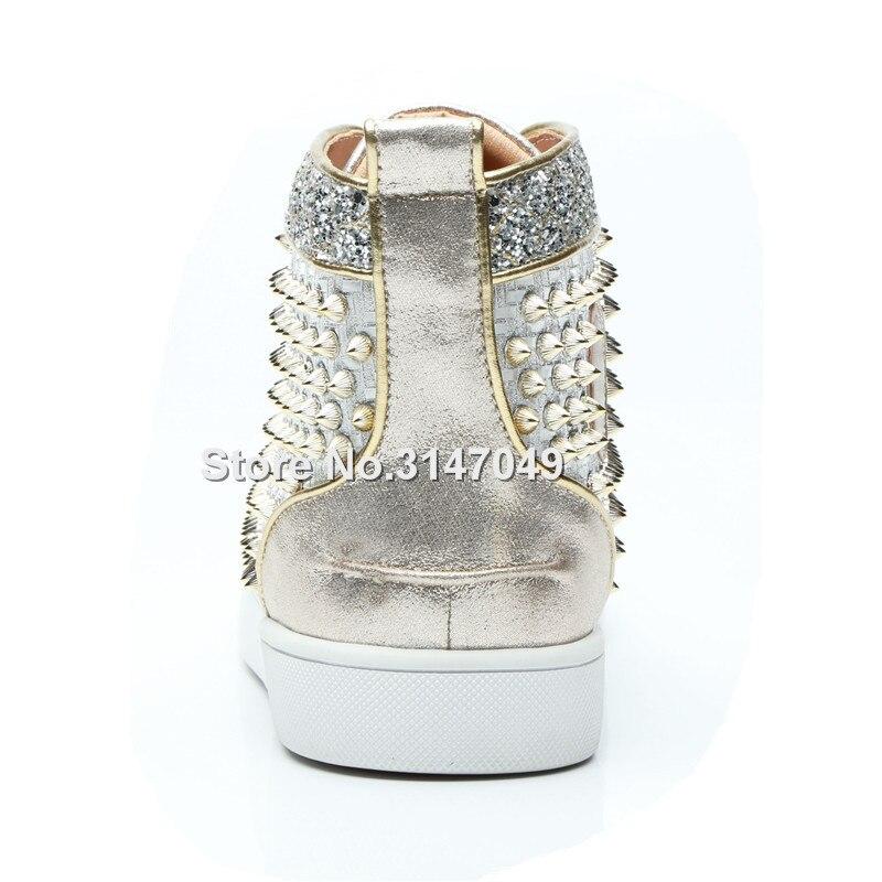 Chaussures de luxe Hommes Argent Strass Baskets Pour Hommes Bling Rivets Mocassin Hommes Chaussures à lacets décontracté Cristal Hommes Chaussures À Semelle Plate - 4