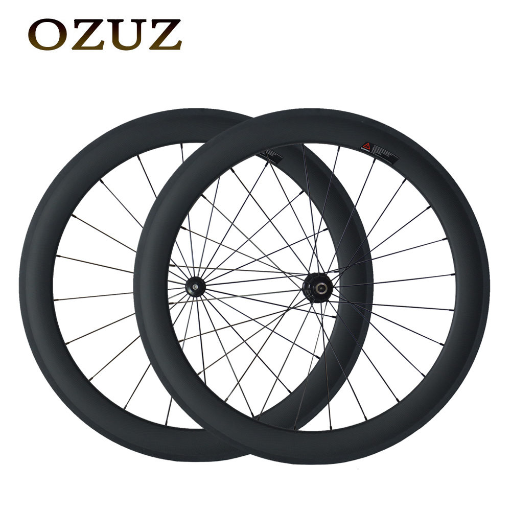 Custom Duty Free OZUZ Straight Pull 700C Carbon Wheels 50mm Clincher 3K Matte 3K Glossy Road Carbon Wheelset Powerway R36 Hub 700c full carbon dimple clincher road bike wheels 50mm racing bike wheelset powerway r36 ceramic hub