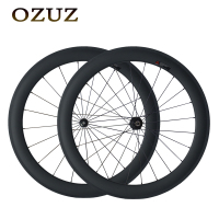 OZUZ Straight Pull 700C Carbon Wheels 50mm depth Clincher 3K Matte bike wheels Road bicycle Wheelset Powerway R36 Hub v brake